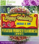 Karangan Bunga Papan Happy Wedding Serpong
